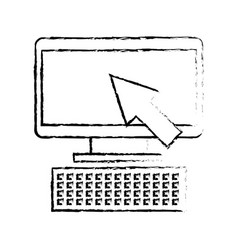 computer device with arrow technology icon vector image