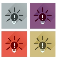 Concept of flat icons with long shadow light bulb vector