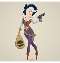 Cowgirl with gun funny cartoon character vector