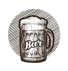 Craft beer mug with foam Sketch vector image