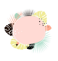 creative summer round template with black palm vector image
