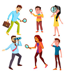curious characters looking information set vector image