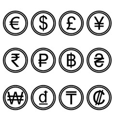 Currency symbols icons simple black and white set vector