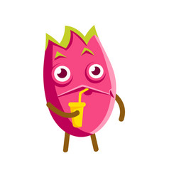 Cute cartoon happy dragon fruit drinking fruit vector