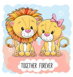 Cute cartoon lions boy and girl vector