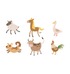 Cute farm animals set sheep goose horse dog vector