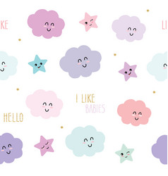 Cute seamless pattern background with cartoon vector