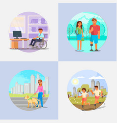 Disabled and handicapped people flat vector
