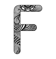 Entangle stylized alphabet lace letter f vector