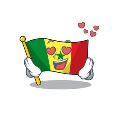 falling in love happy cute flag senegal cartoon vector image