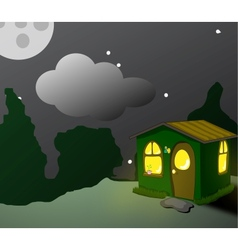fantastic green lodge at night vector image