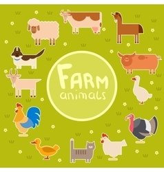 Farm animals in the green field vector image