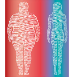 Fat and slim woman figure vector