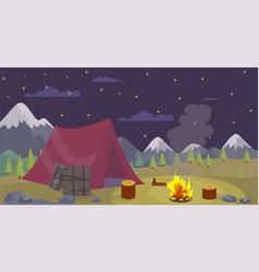 flat night camping mountains burn campfire vector image