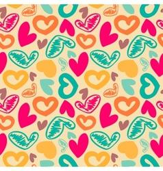 Fun seamless vintage love heart background vector