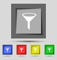 Funnel icon sign on the original five colored vector