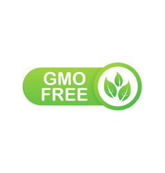 Green colored gmo free emblems badge logo icon vector