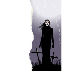 halloween background with woman ghost vector image