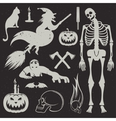 Halloween Icons and Badges set vector image