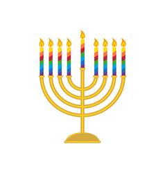 Hanukkah menorah candelabrum for jewish holiday vector