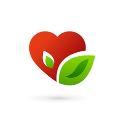 Heart and leaves symbol logo icon vector image