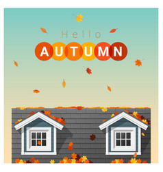 Hello autumn background with a small house vector