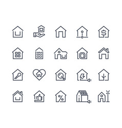 home line icons house interface button browser vector image