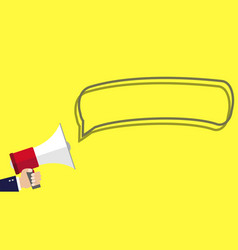 human hand holding megaphone with blank bubble vector image
