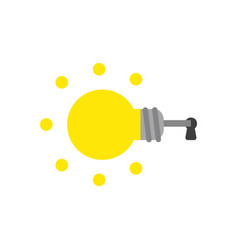 icon concept of glowing light bulb key inside vector image