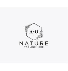 Initial ao letters botanical feminine logo vector