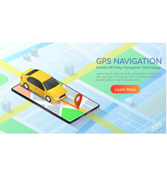 isometric web banner car with gps map navigation vector image