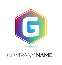 letter g logo symbol in the colorful hexagonal on vector image