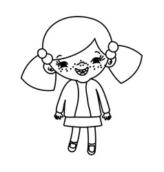 Line happy girl child with two tails vector