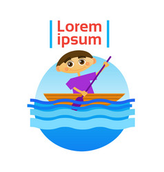 little boy boating rowing sport training hobby vector image