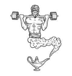 Magical genie with barbell sketch engraving vector