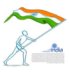 Man hoisting indian flag celebrating independence vector