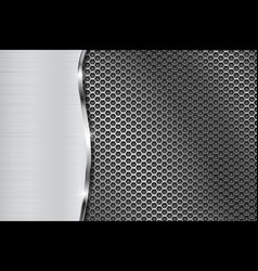 Metal perforated background with wave steel vector