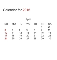 Modern calendar for april 2016 vector