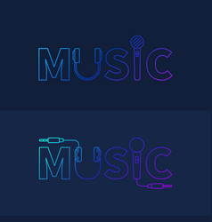 music creative logo or design element in outline vector image