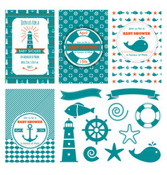 nautical baby shower cards sea theme baby party vector image
