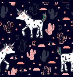 Pattern with cute unicorns stars cacti vector