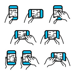 Phone in hand icon set Hand gestures on smartphone vector image