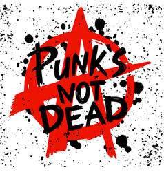 Punk rock set punks not dead words and design vector