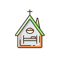 Religious shelter rgb color icon vector