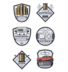 Retro energy electrical services icons vector