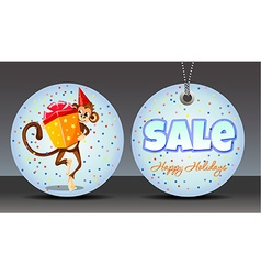 Sale Labels monkey with a gift vector image