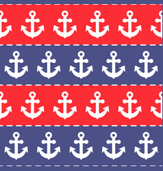 Seamless anchor pattern blue and red stripes vector