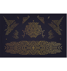 set art deco design elements golden vector image