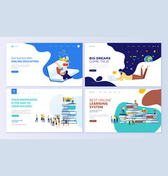 Set of web page design templates for education vector