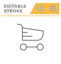 shopping cart editable stroke line icon vector image
